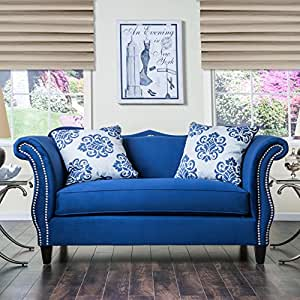 Furniture of America Othello Loveseat Blue