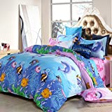 Ocean World Design Children Duvet Cover Set 4pcs Kids Bedding Set No Comforter Duvet Cover Bed Sheet Pillow Shams Twin Full Size (Twin, Fish & Jellyfish)