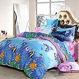 Ocean World Design Children Duvet Cover Set 3pcs Kids Bedding Set One Duvet Cover Without Comforter One Flat Sheet One Pillow Shams Twin Full Size (Twin, Fish & Jellyfish)