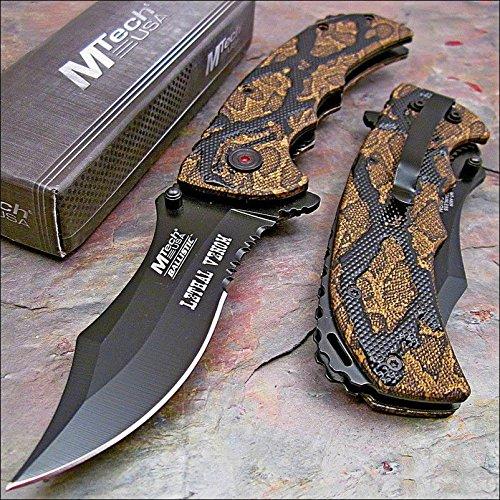 MTECH BALLISTIC Spring Assisted Open BROWN SNAKE SKIN CAMO Folding Pocket Knife