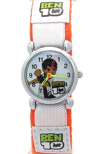 Relojes infantiles para niños y niñas con personaje Ben 10, didácticos, correa de trama de tela con cierre de velcro, de cuarzo analógico.