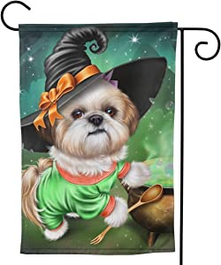 Angels Fly Mouth Halloween Shih Tzu Witches Brew Dog FunnyPremium Material Seasonal Family Welcome Double Sided Garden Flag Spring Summer Outdoor Funny Decorative Flags for Garden Yard Lawn Gift