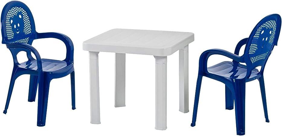 Chaises et table en plastique pour jardinextérieur pour enfant chaises bleuestable blanche meuble pour enfant lot de 2 chaises1 table