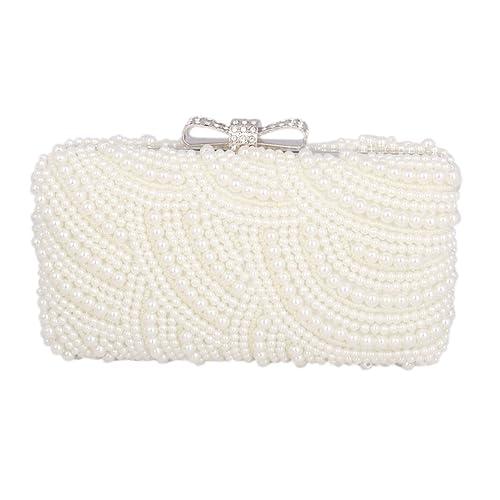 0591cd3c4a Adoptfade Women's Evening Clutch Bag Pearl Dinner Bag Beaded Rhinestone?  Beige: Handbags: Amazon.com