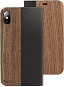 NALIA Wood Flipcase Compatible with iPhone X Xs, Handmade Vegan-Leather Wallet Phone Cover Slim Back Protector Soft Skin Book-Case Full-Body Shockproof Bumper with Card Slots, Color:Walnut
