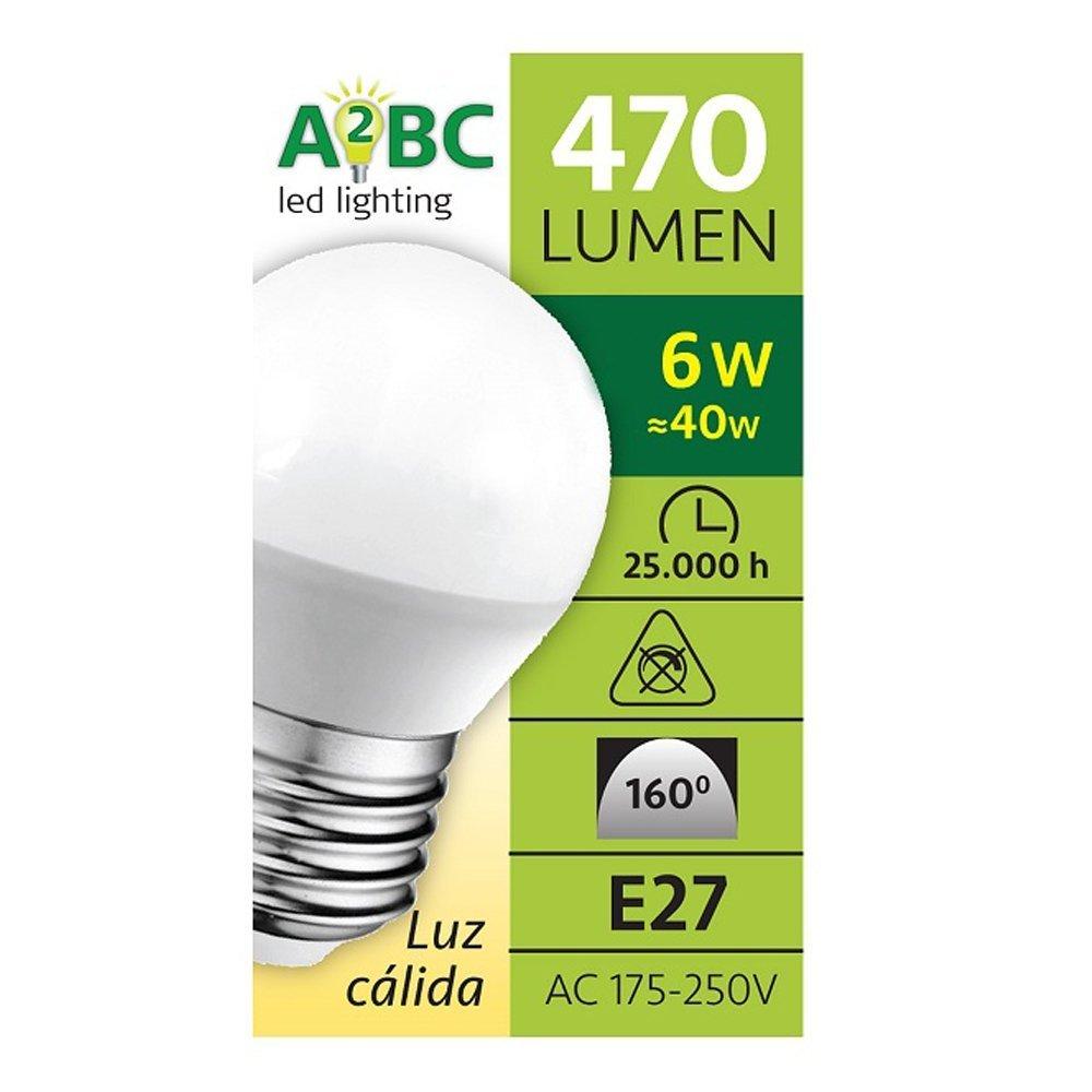 Pack 2x Bombillas esféricas LED E27 6W luz calida (3000K) 470 Lm.: Amazon.es: Iluminación