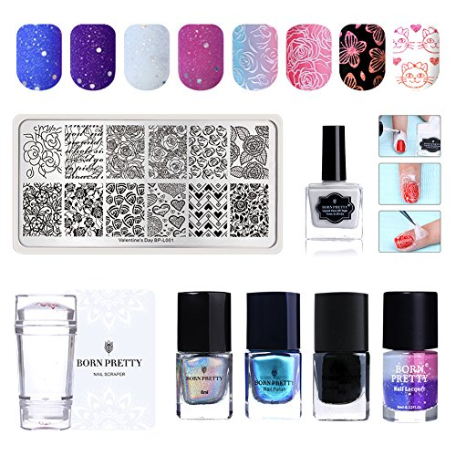 BORN PRETTY 4 Bottles Nail Polish Set Holographic Chameleon Color Changing Varnish Peel Off Latex with Stamping Kit - Holographic Peel