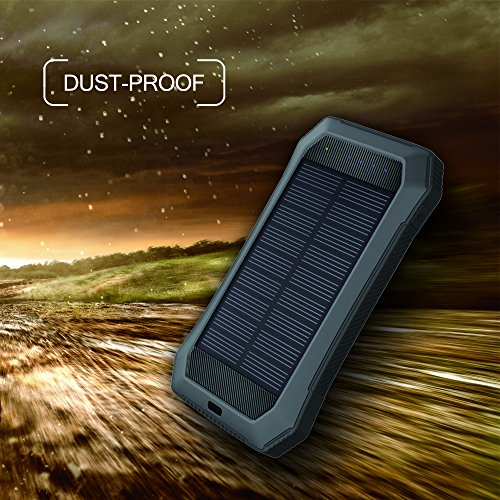 Solar Charger with Strong LED Flashlight, 10000mAh Solar Phone Charger with Dual USB Port, Outdoor Portable Solar Power Bank Built-in Strong 52LED Flashlight for Camping, Travelling & other Activities by URWILL (Image #5)