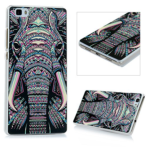 Lanveni Funda Carcasa rígida ultra Slim para Huawei P8 Lite (no para P8 Lite 2017 5.2 pulgadas) Transparente Hard Case - Patrón elefante tribal Diseño Diseño 1