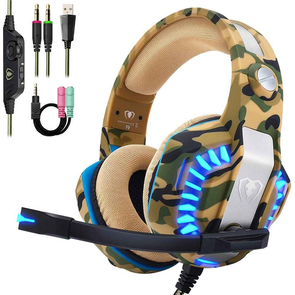 Beexcellent Pro Stereo Gaming Headset for PS4 Xbox One PC, All-Cover Over Ear Headphones with Deep Bass Surround Sound, LED Light Noise Canceling Microphone for Nintendo Switch Mac Laptop