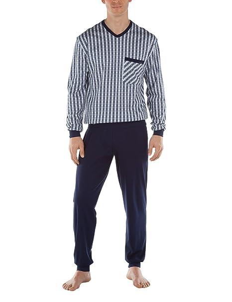 449ff92abc Calida Serengeti Pyjama-Pigiama 2 Pezzi Uomo Blue (Dark Blue 449) X-Large:  Amazon.it: Abbigliamento