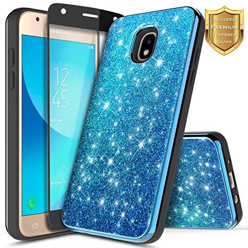 NageBee For Samsung Galaxy J3 Achieve Case, J3 V/J3 3rd Gen, Express Prime 3, J3 2018 (J337), J3 Star, Amp Prime 3 w/[Tempered Glass Screen Protector] Glitter Bling Slim Girly Cute Case -Blue