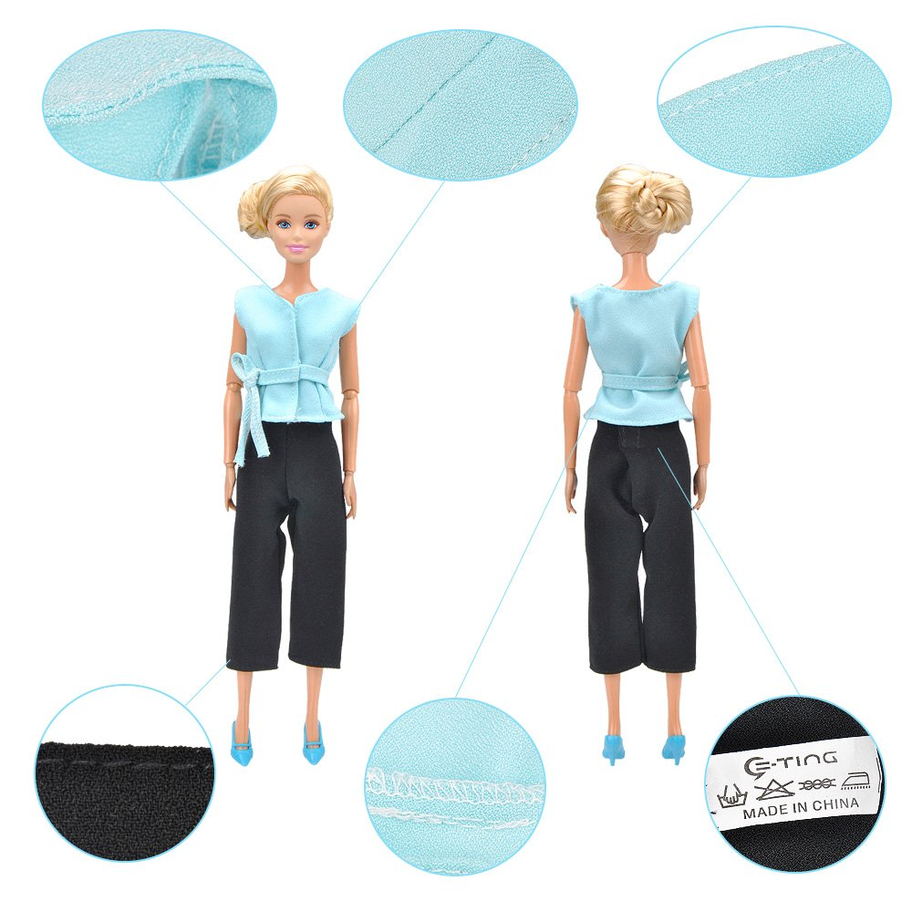 E-TING Fashion Doll Clothes Office Style Wears Wide Leg Trousers for Barbie Dolls (Blue Sleeveless Tops + Black Wide-Leg Trousers)