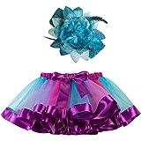 Sunhusing Adorable Girls Rainbow Tutu Skirt + Hair Strap Two-Piece Suit Toddler Party Dance Ballet Costume Skirt