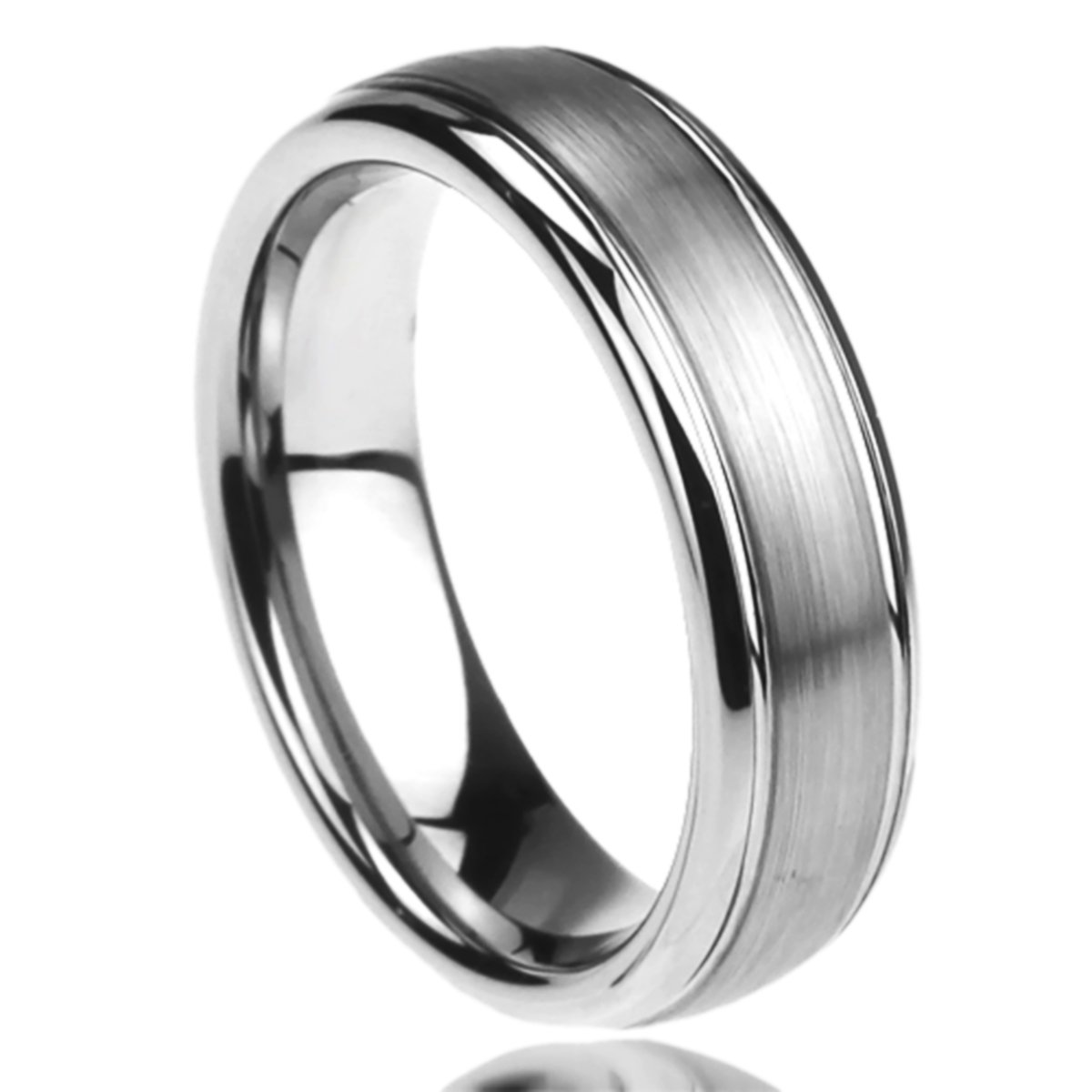 6MM Stainless Steel Wedding Band Ring Brushed Center Domed Classy (6 to 14) - Size: 8