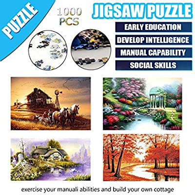 Landscape Puzzle 1000 Piece Jigsaw Puzzle Kids Adult –Wooden Assembling Games Educational Toys Jigsaw Puzzle (Autumn Ranch Life): Toys & Games
