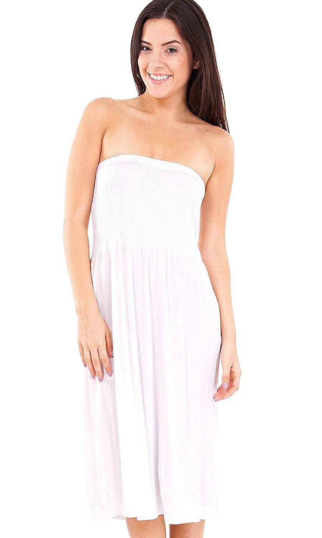 Strapless Seamless White Smocking Tube Dress at Amazon Women's ...