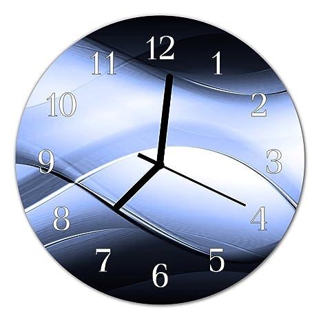 Deko Cristal Reloj Abstracto Azul Reloj Redondo de Vidrio acrílico Grandes Diseño Reloj de
