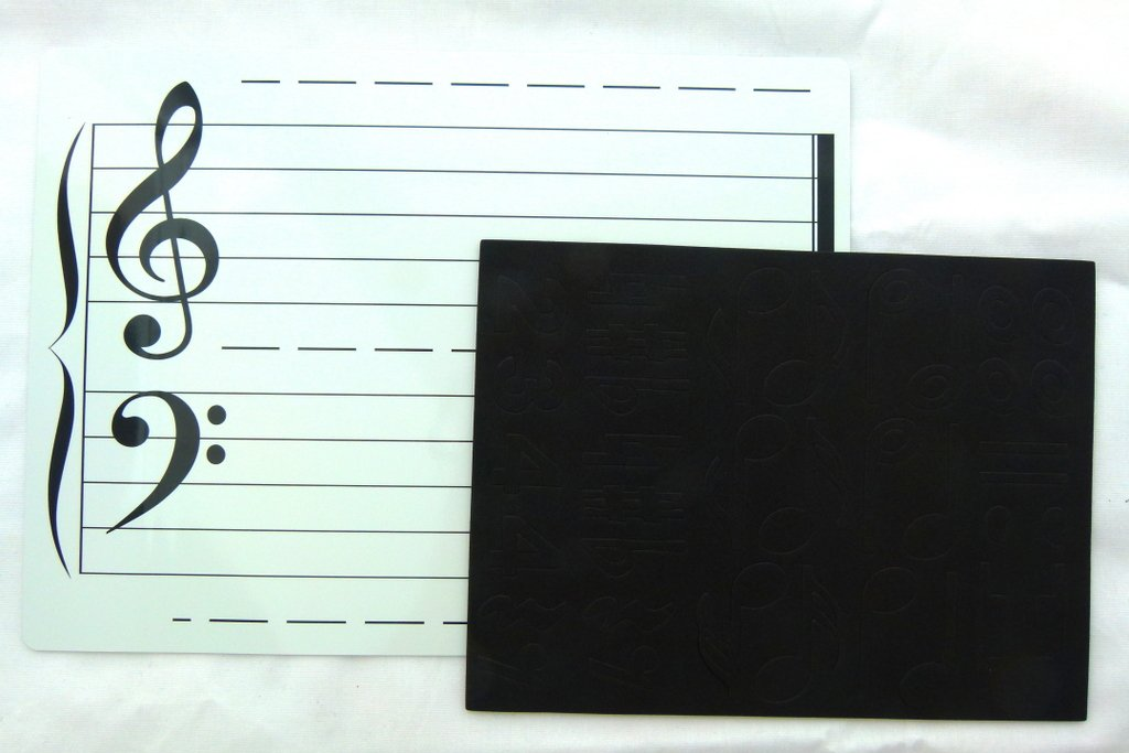 Magnetic Wipe and Clean Music Theory Board (Double Sided) with Music Notes Magnet FunMusicOnline