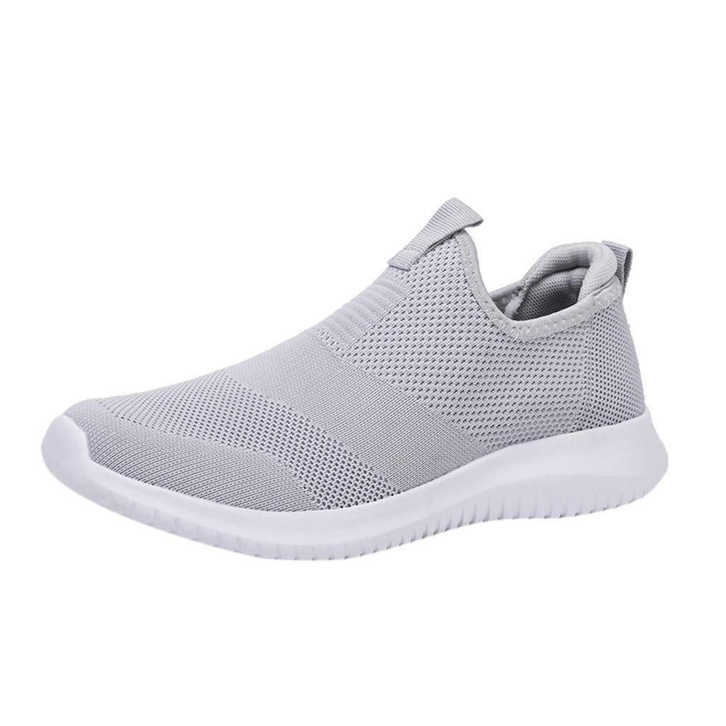 Couple Woven Breathable Casual Sneakers Ultra Light Hollow Soft Bottom Mesh Shoes Athletic Running Walking Gym Lace Up Soft Sole Men Women (Gray, US:11-Foot Length:11.2'')