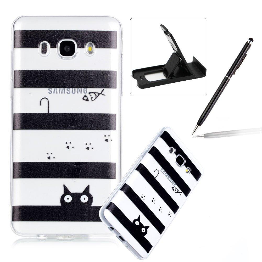 Clear TPU Case for Galaxy J5 2016,Soft Soft Gel Bumper Cover for Galaxy J5 2016,Herzzer Ultra Slim Stylish [Black Striped Cat Pattern] Shock-Absorbing Anti-Scratch Flexible Rubber Silicone Case