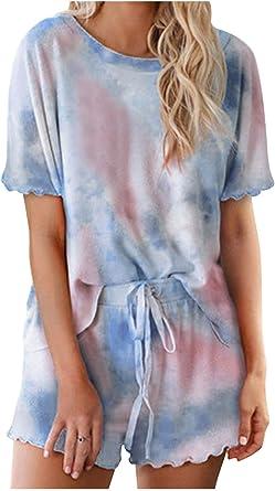 Conjuntos de Pijama para Mujer Camiseta y Pantalones Cortos Tie Dye Manga Corta Ropa de Dormir 2 Piezas: Amazon.es: Ropa y accesorios