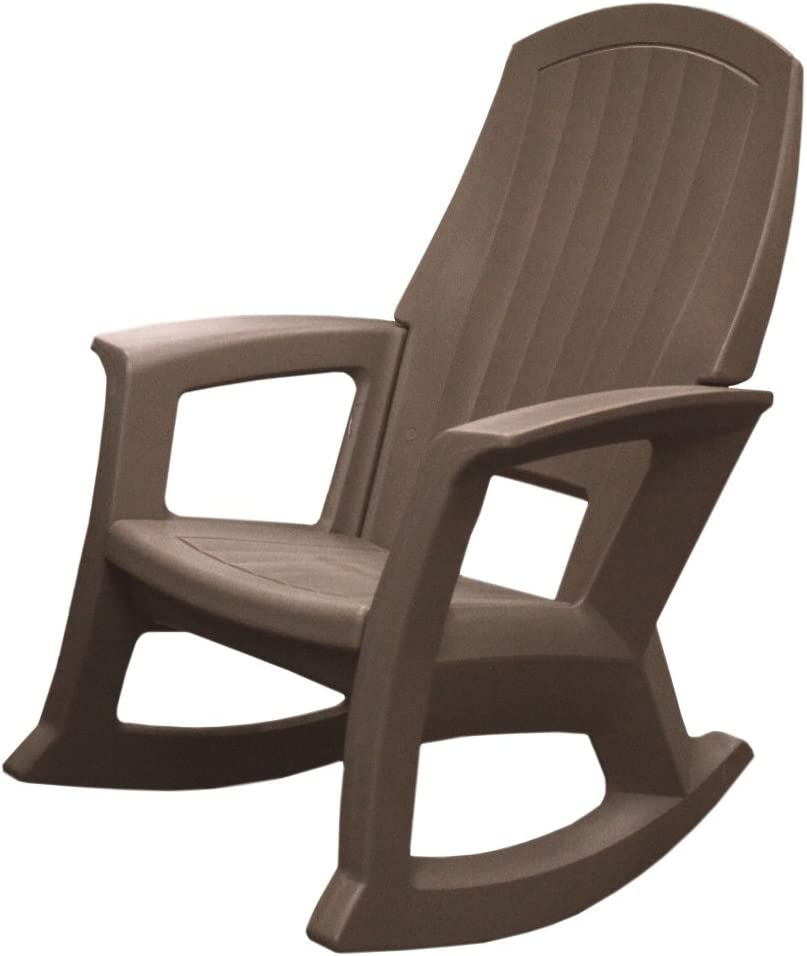 Semco Plastics SEMTPE Extra Large Recycled Plastic Resin Durable Outdoor Patio Rocking Chair, Taupe Brown : Patio Rocking Chairs : Garden & Outdoor
