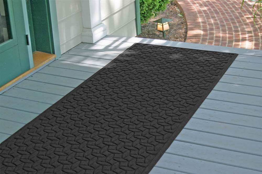 Bungalow Flooring 36 in. L x 84 in. W Charcoal Waterguard Ellipse Mat - Made to order Ellipse design traps dirt, resists fading, rot and mildew Indoor and outdoor use - runner-rugs, entryway-furniture-decor, entryway-laundry-room - 61x98GjzOFL -