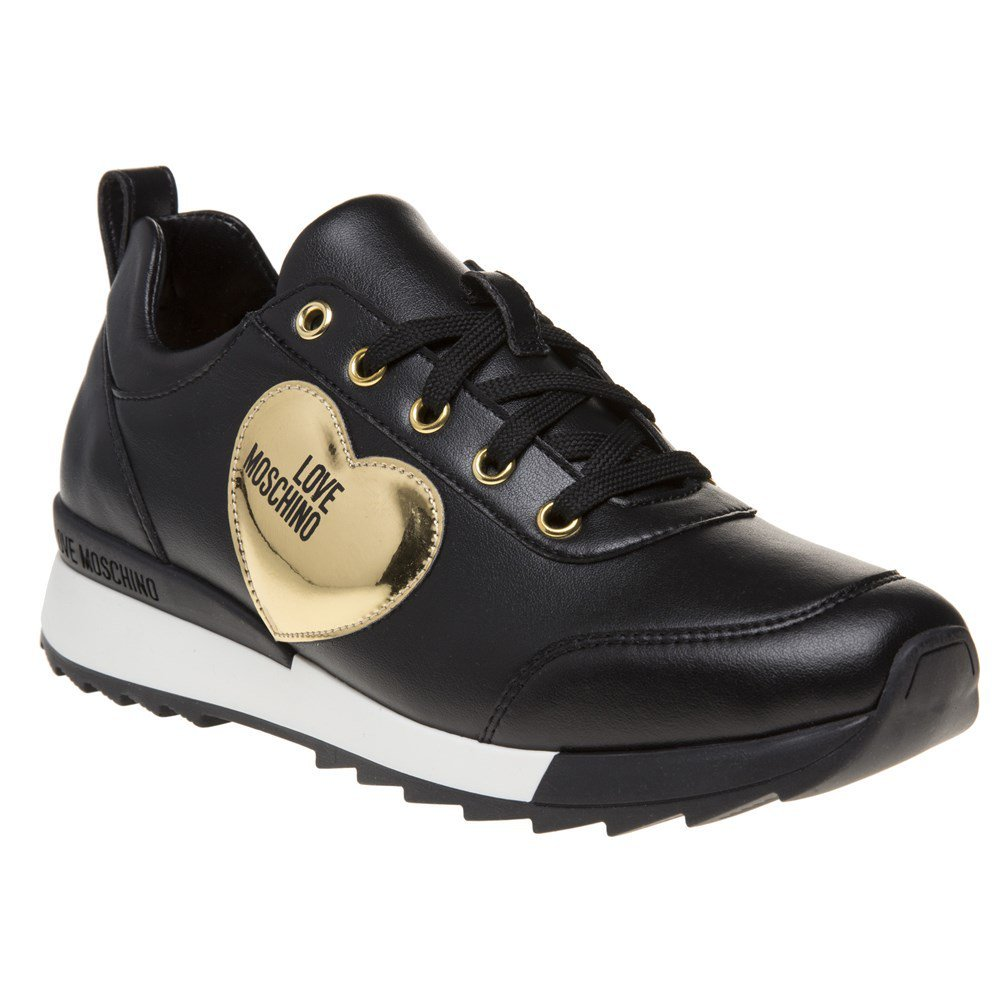 Love Moschino Gold Heart Womens Sneakers Black