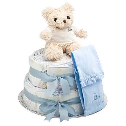 Tarta de Pañales Chic- regalo de nacimiento ideal para babyshowers- 60 pañales ecológicos,