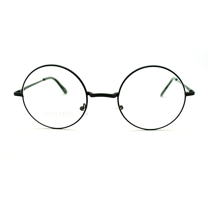 Amazon.com: Black 70s Hippie John Lennon Circle Lens Imagine Groovy ...