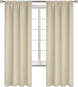 BGment Rod Pocket Blackout Curtains for Bedroom - Thermal Insulated Room Darkening Curtain for Living Room, 52 x 72 Inch, 2 Panels, Beige