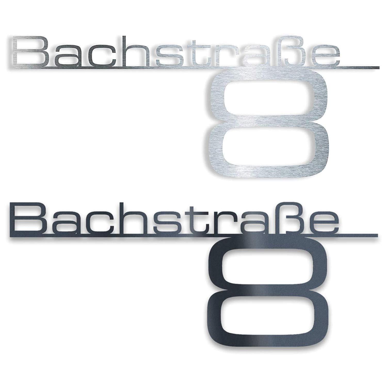 mit Wunsch-Schriftzug Stra/ßenname Hausnummer oder Name Anthrazit RAL 7016 Firmen-Schild 650 mm Design Hausnummernschild T/ürschild Namensplakette aus Edelstahl Edelstahl poliert /…