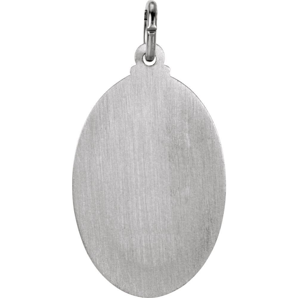 Jude Thaddeus Medal DiamondJewelryNY Sterling Silver 23.5x16mm Oval St