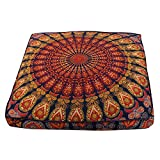 Indian Peacock Mandala Floor Pillow Throw Square Cushion Cover Meditation Pouf Mandala Floor Pillow Cushion Seating Throw Cover Bohemian Decor Floor Cushion Cover