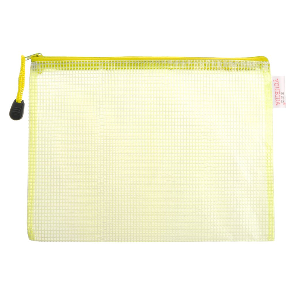 Ladaidra Waterproof A5 PP Grid Document Bag File Pocket Storage Case with Zipper Supply for School Office Home (Yellow)
