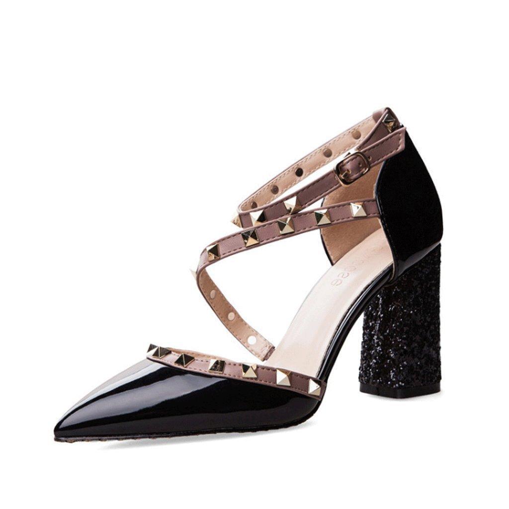 Studded Sandals Sommerfrauen Roman Dicksohlen High Heels (Farbe   schwarz, größe   EU36 UK3.5 CN35)
