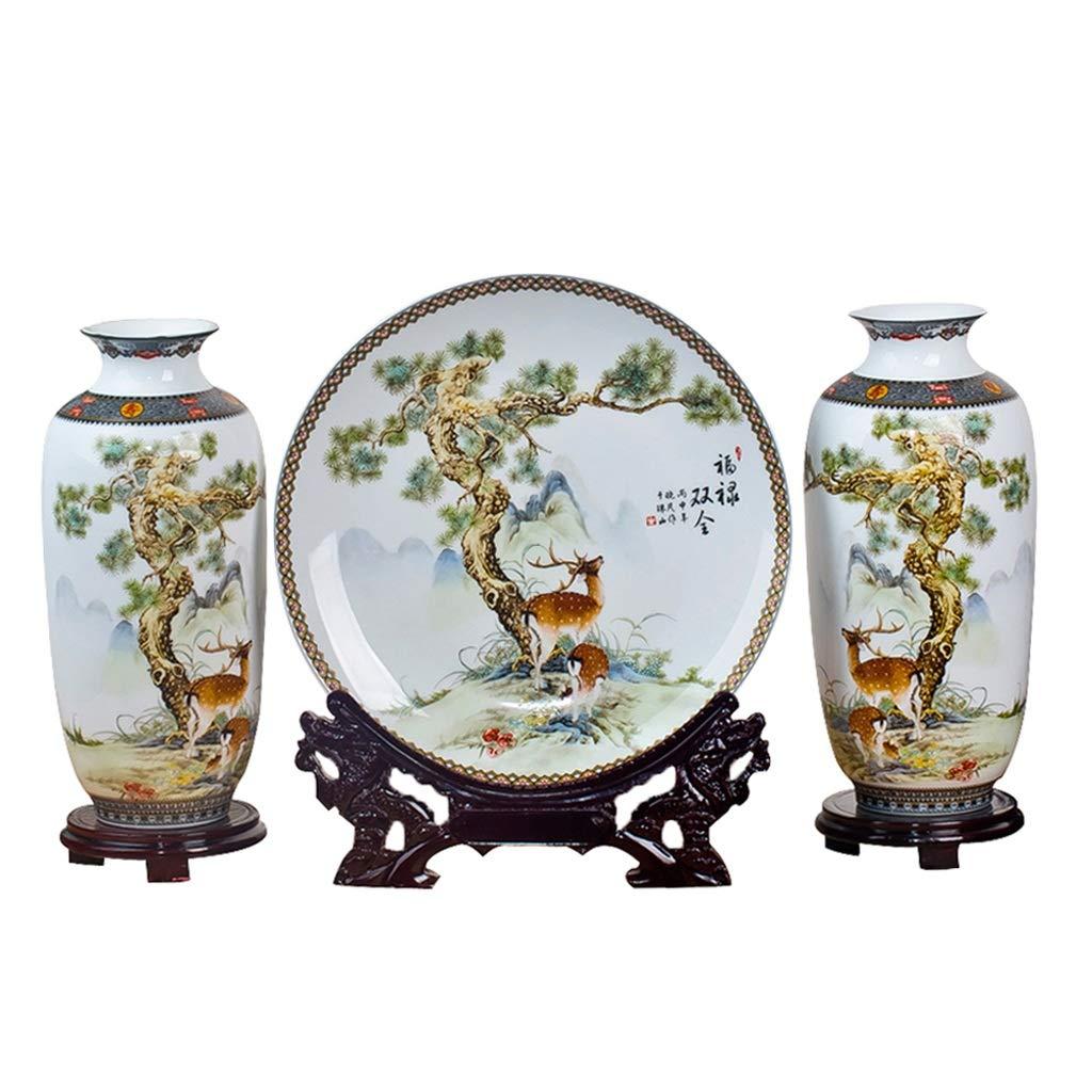 花瓶セラミックスパステルフル二重スリーピース花瓶プレート現代のファッション家の装飾リビングルームの装飾(ベース3セット付き) LQX B07SGBMR5Q