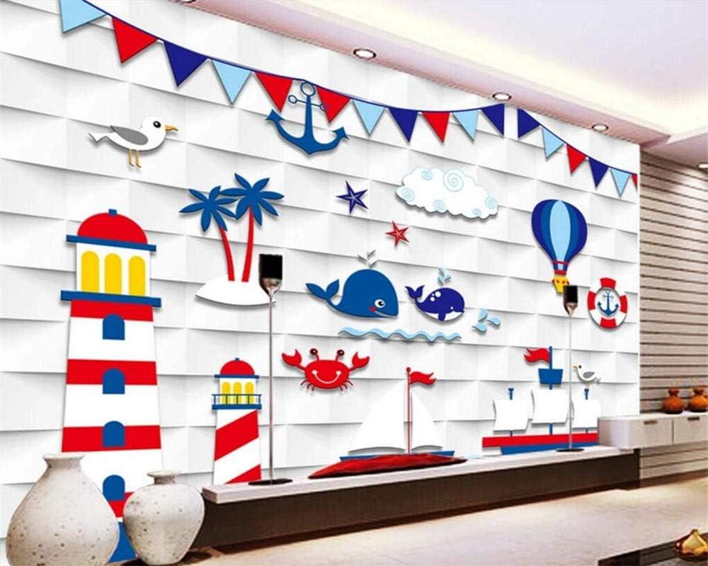 Amazon Ansyny カスタム壁紙3d地中海テレビ背景子供部屋幼稚園背景壁画3d壁紙 0x140cm 壁紙