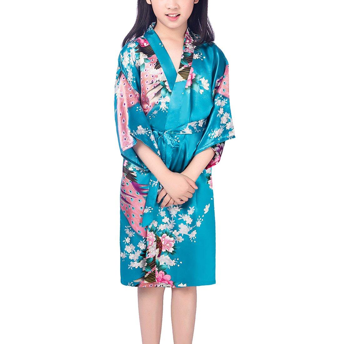con pavoni e fiori FAYBOX BRIDAL vestaglia satinata per bambina stile kimono et/à dai 2 ai 12 anni adatta per spa