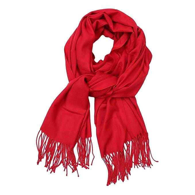 946b21a7a B Baosity Bufanda Larga Mezcla de Lana con Borlas Color Sólido Cálido para  Otoño Invierno - rojo, tal como se describe: Amazon.es: Ropa y accesorios