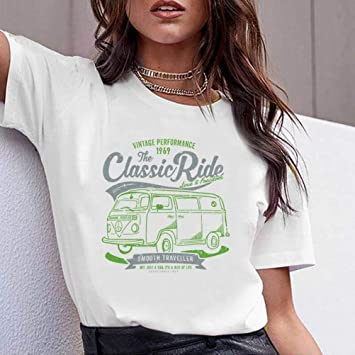JUSTTIME Camiseta Estampada Blanca para Mujer Camisa de Fondo ...