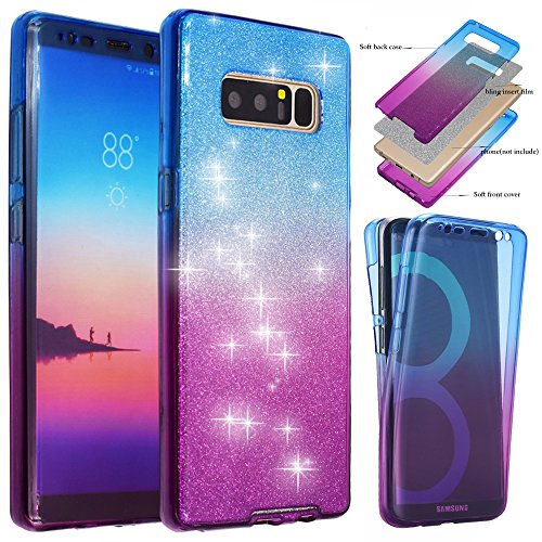 BestAlice for Galaxy Note 8 Case, BestAlice Front + Back 360 Degree Slim Fit Full Coverage Protective Soft Ombre Clear Crystal Gel TPU Case, Blue & Purple & Silver Bling Glitter Film