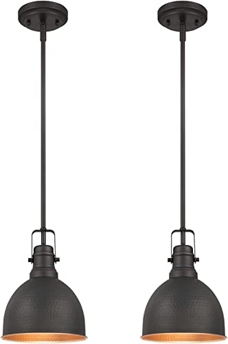 Westinghouse Lighting Westinghouse 6345600 One-Light Mini Pendant Industrial Hammered Oil Rubbed Bronze Finish with Highlights 2 Pack , 2 Piece