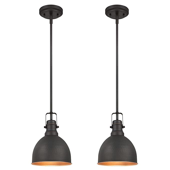 Westinghouse Lighting Westinghouse 6345600 One-Light Mini Pendant Industrial Hammered Oil Rubbed Bronze Finish with Highlights (2 Pack), Piece - - Amazon. ...