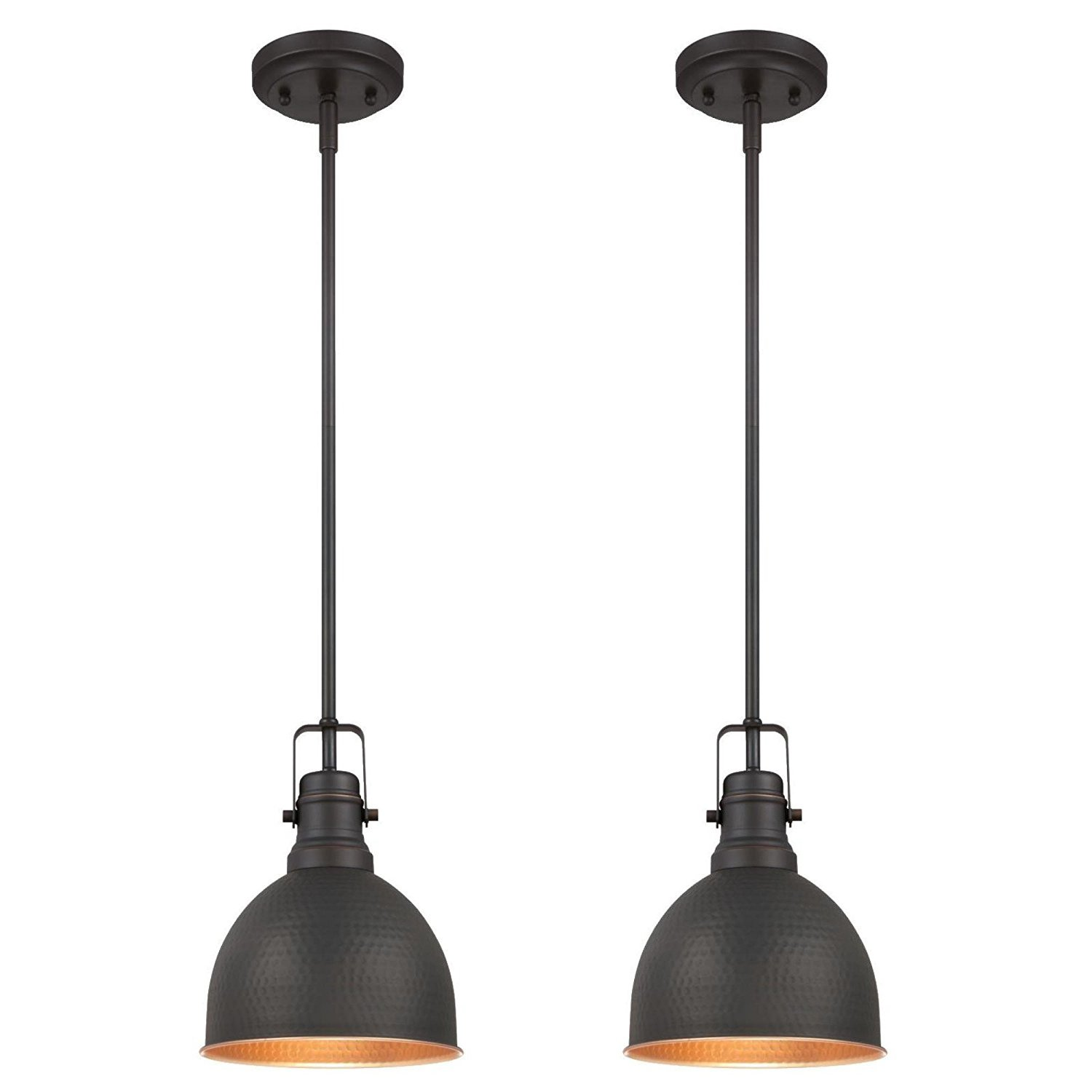 Westinghouse 6345600 One-Light Mini Pendant Industrial Hammered Oil Rubbed Bronze Finish with Highlights (2 Pack) Piece