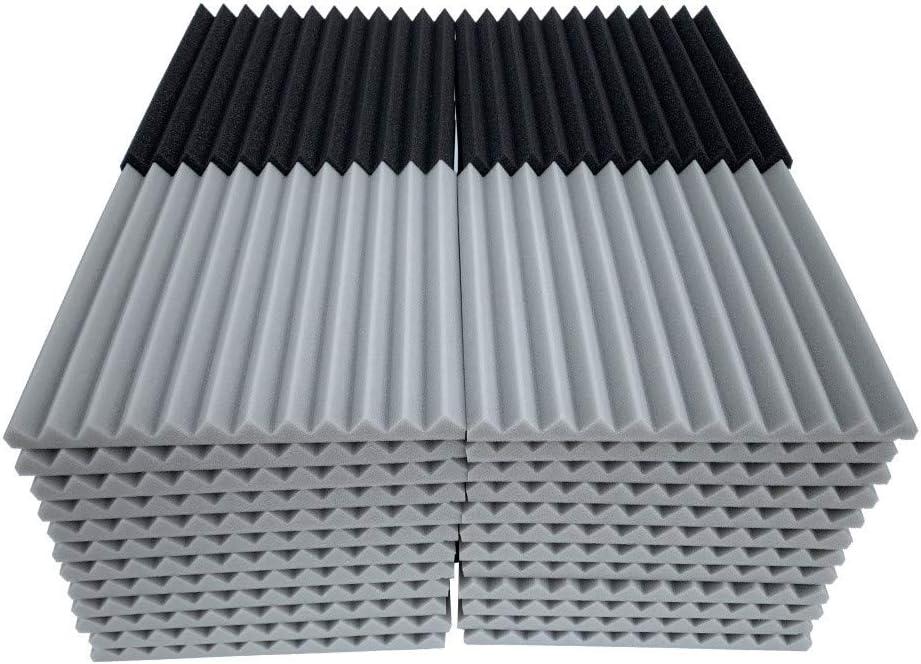 Bearbelly Paquete de 48 paneles de espuma ac/ústica 30x30x2.5cm Ranura triangular Estudio de insonorizaci/ón ign/ífugo Ideal para aislamiento ac/ústico para el hogar y el estudio