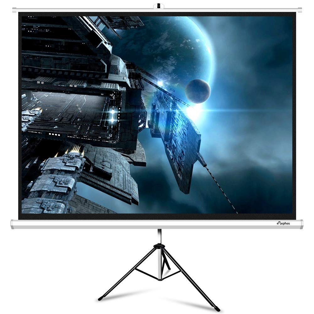 ELEPHAS M100-S Projector Screen with Stand, Portable 100 Inch 4: 3 Indoor & Outdoor Pull Down Projection Screen with Solid Connecting Knob & Tripod Stand (1.1 Gain, Wrinkle-Free)