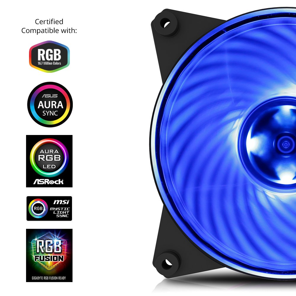 Cooler Master MFY-P2DC-153PC-R1 MasterFan Pro 120 Air Pressure RGB- 120mm Static Pressure RGB Case Fan, 3 in 1 with RGB LED Controller, Computer Cases CPU Coolers and Radiators by Cooler Master (Image #3)