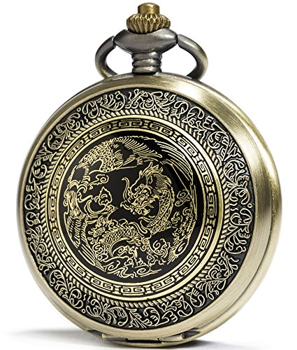 SEWOR Fashion Bronze Quartz Enamel Painting Pocket Watch Black Dial + Leather Gift Box (Dragon & Phoenix) - Enamel Dial Watch